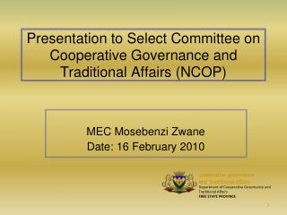 Presentation to Select Committee on Cooperative Governance and Traditional Affairs NCOP