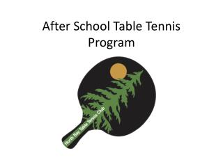 After School Table Tennis Program