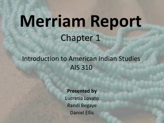 Merriam Report  Chapter 1