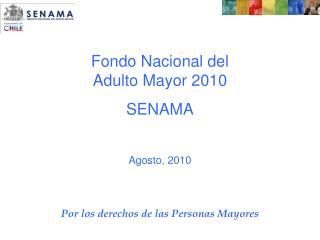 Fondo Nacional del Adulto Mayor 2010 SENAMA Agosto, 2010