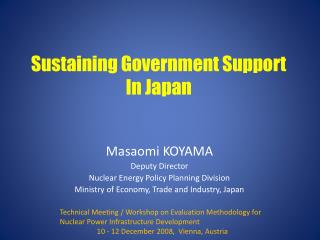 Sustaining Government Support In Japan