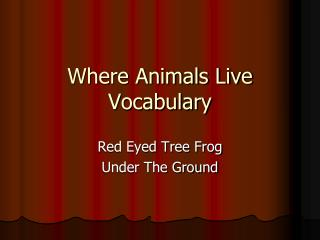 Where Animals Live Vocabulary
