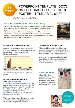 PowerPoint template 100x70 cm  Portrait  FOR  a  scientific  poster  –  TITLE=Arial 80  pt