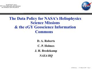 The Data Policy for NASA's Heliophysics Science Missions & the eGY Geoscience Information Commons