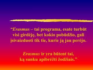 ERASMUS  studijos  VU studentams : ...galimybės… … privalumai … … planavimas ...