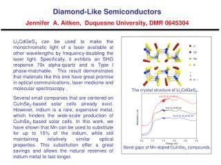 Diamond-Like Semiconductors Jennifer  A. Aitken,  Duquesne University, DMR 0645304
