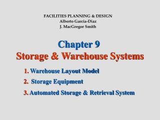 Chapter 9  Storage & Warehouse Systems