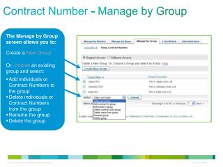 Contract Number - Manage by Group