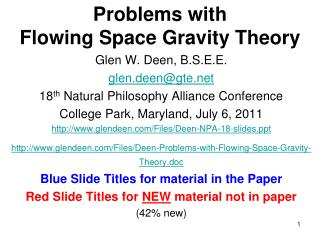 Problems with  Flowing Space Gravity Theory