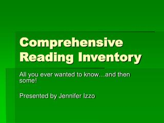Comprehensive Reading Inventory