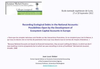 Jean-Louis Weber Former Special Adviser on Economic-Environmental Accounting