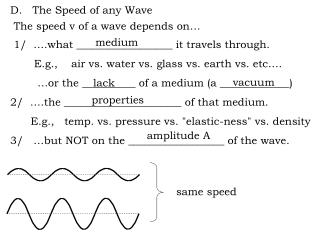 D.   The Speed of any Wave  The speed v of a wave depends on…