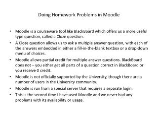Doing Homework Problems in Moodle