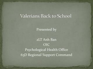 Valerians Back to School