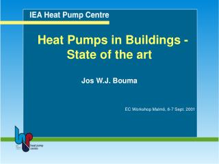Heat Pumps in Buildings - State of the art Jos W.J. Bouma EC Workshop Malmö, 6-7 Sept. 2001