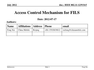 Access Control Mechanism for FILS
