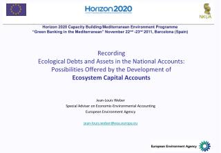 Jean-Louis Weber Special Adviser on Economic-Environmental Accounting European Environment Agency