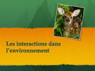 Les interactions dans l'environnement