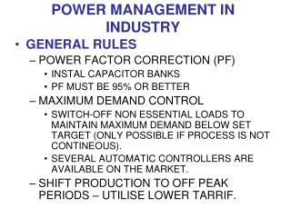 POWER MANAGEMENT IN INDUSTRY