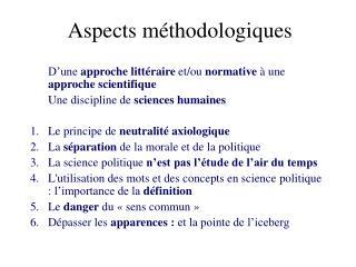 Aspects méthodologiques