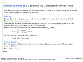 Sample Exercise 18.1 Calculating the Concentration of Water in Air