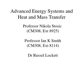 Advanced Energy Systems and Heat and Mass Transfer