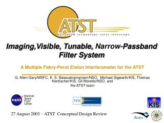Imaging,Visible, Tunable,  Narrow- Passband Filter System