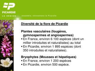 Diversité de la flore de Picardie Plantes vasculaires (fougères, gymnospermes et angiospermes)