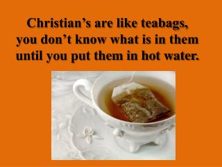 Christian's are like teabags, you don't know what is in them until you put them in hot  water.