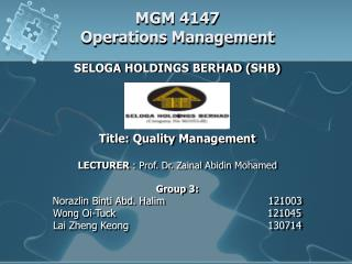 MGM 4147 Operations Management