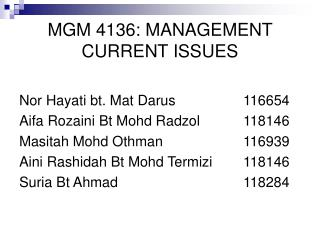 MGM 4136: MANAGEMENT CURRENT ISSUES