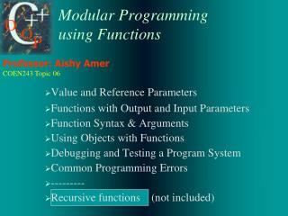 Modular Programming using Functions