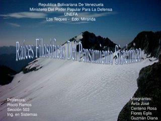 Republica Bolivariana De Venezuela  Ministerio Del Poder Popular Para La Defensa UNEFA