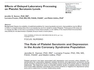 Platelet Serotonin Laboratory Protocol
