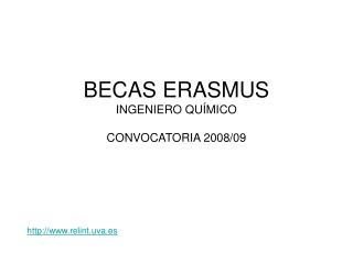 BECAS ERASMUS INGENIERO QUÍMICO CONVOCATORIA 2008/09