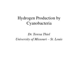 Hydrogen Production by Cyanobacteria