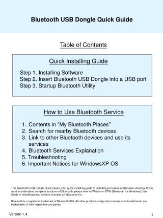 Bluetooth USB Dongle Quick Guide