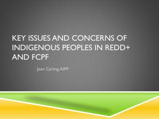 KEY ISSUES AND CONCERNS OF INDIGENOUS PEOPLES IN REDD+ AND FCPF