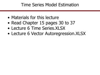 Time Series Model Estimation