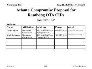 Atlanta Compromise Proposal for Resolving OTA CIDs