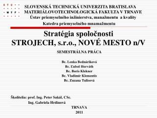 Stratégia spoločnosti  STROJECH, s.r.o., NOVÉ MESTO n/V