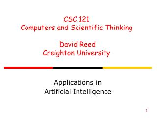 Applications in  Artificial Intelligence