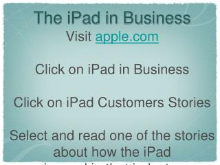 The iPad in Business
