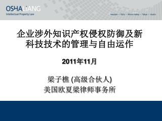企业涉外知识产权侵权防御及新科技技术的管理与自由运作  2011 年 11 月
