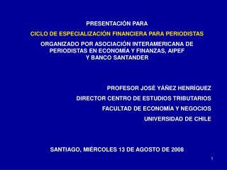 PRESENTACIÓN PARA CICLO DE ESPECIALIZACIÓN FINANCIERA PARA PERIODISTAS