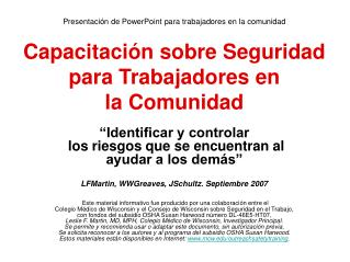 Presentaci n de PowerPoint para trabajadores en la comunidad   Capacitaci n sobre Seguridad para Trabajadores en  la Com