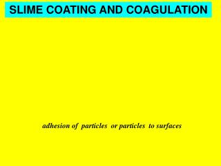 adhesion of  particles  or particles  to surfaces