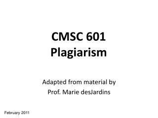CMSC 601 Plagiarism