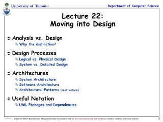 Lecture 22: Moving into Design