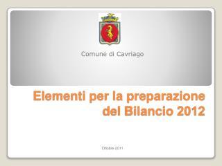 Elementi per la preparazione del Bilancio 2012